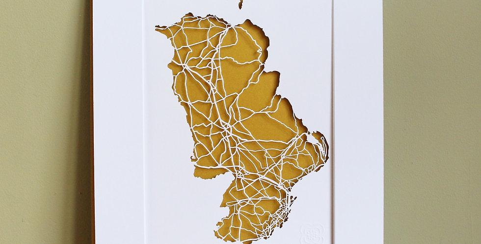 Antrim papercut map