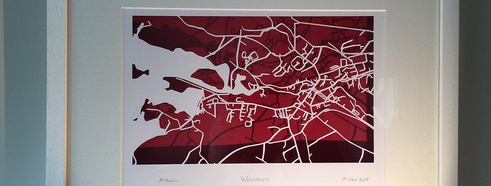 Westport papercut map