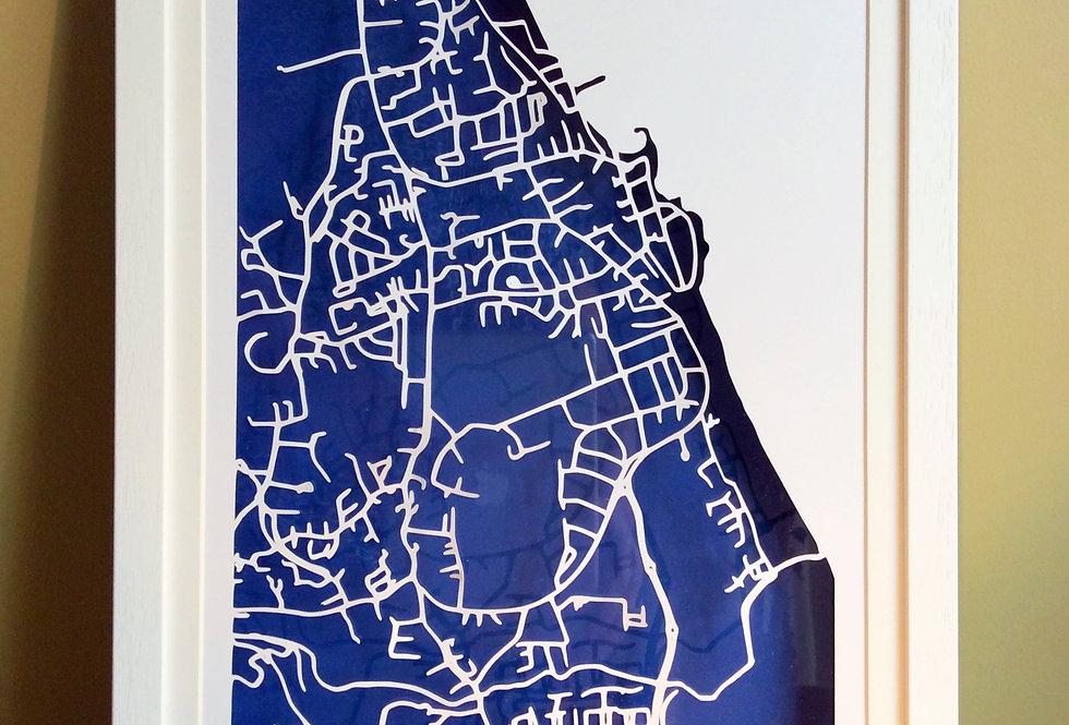 Greystones papercut map