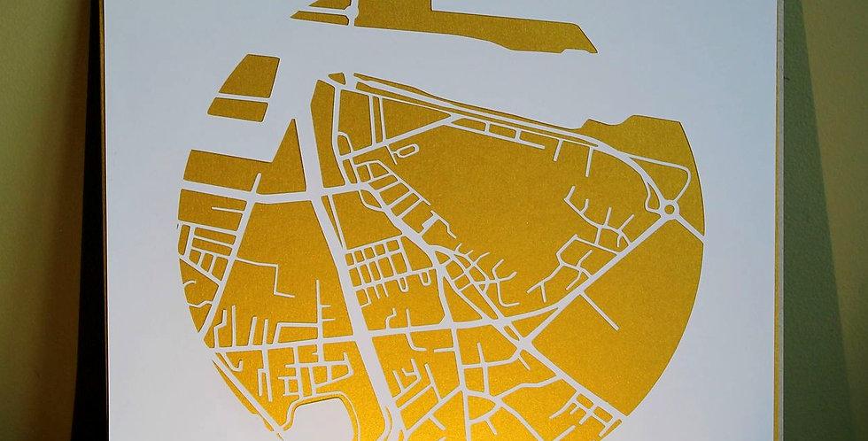 Ringsend, Irishtown papercut map