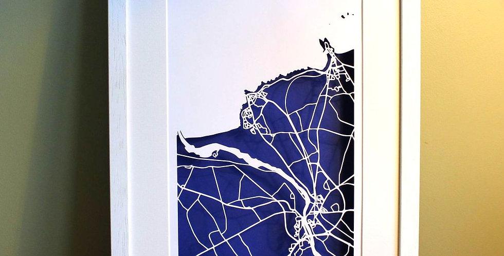 papercut map of Coleraine