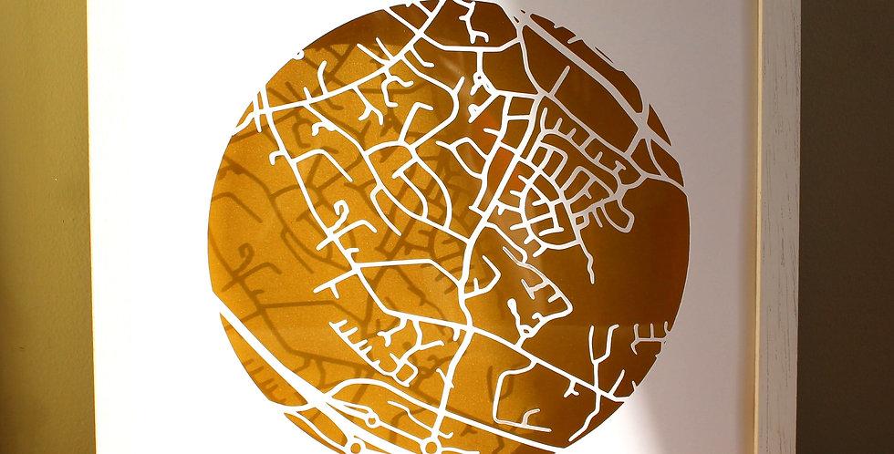 Foxrock papercut map