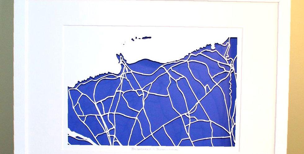 Portstewart papercut map