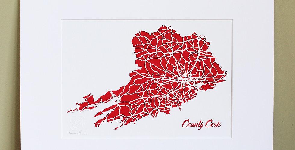 Cork papercut map