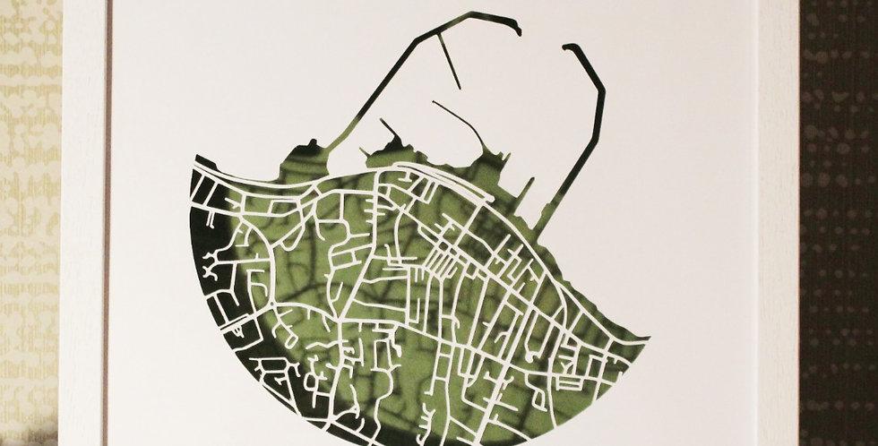 Dunlaoghaire Papercut map