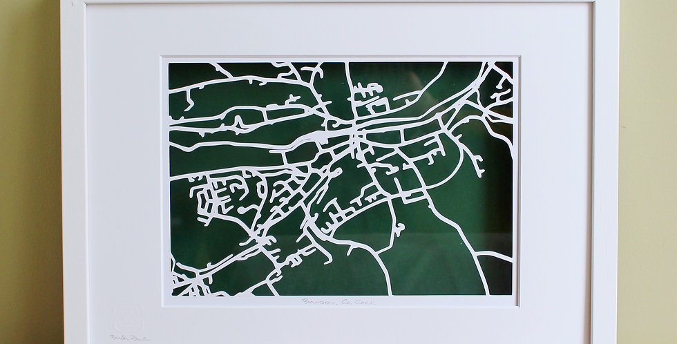 Bandon, Co Cork lasercut map of the roads and rivers