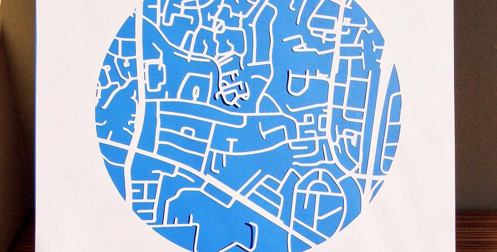 Santry papercut map