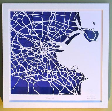 Dublin city paper cut map