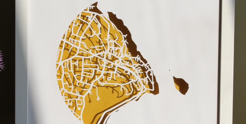 Dalkey, Co. Dublin Papercut map