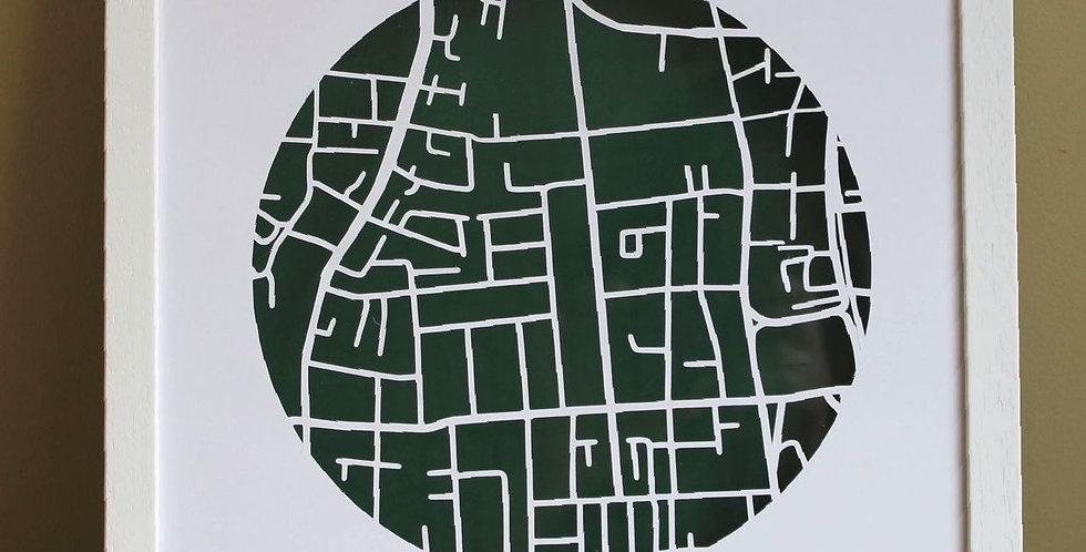 Heytesbury street papercut map