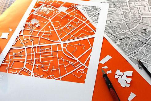 Papercut map of an area of Dublin City