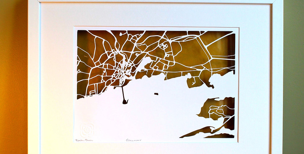 Galway city papercut map