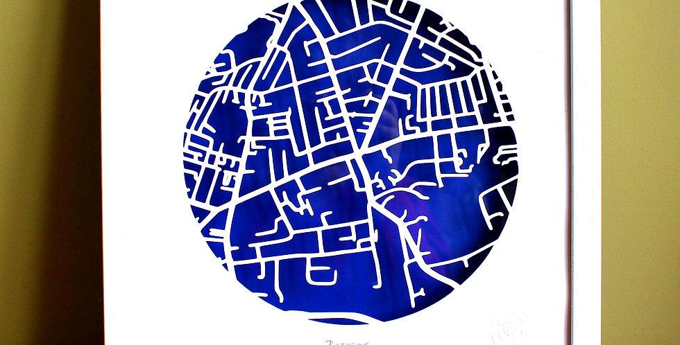Rathgar framed papercut map