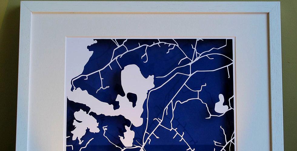 Glasson papercut map