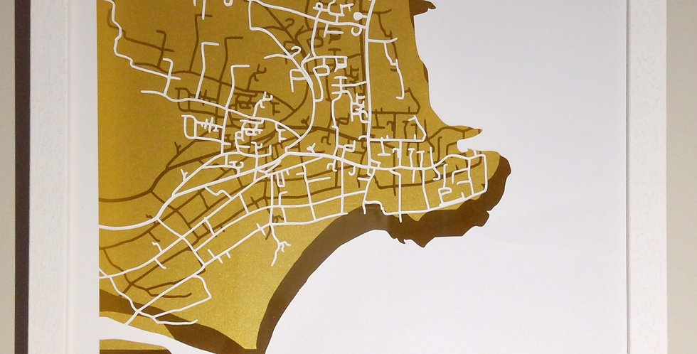 Rush, Co Dublin papercut map