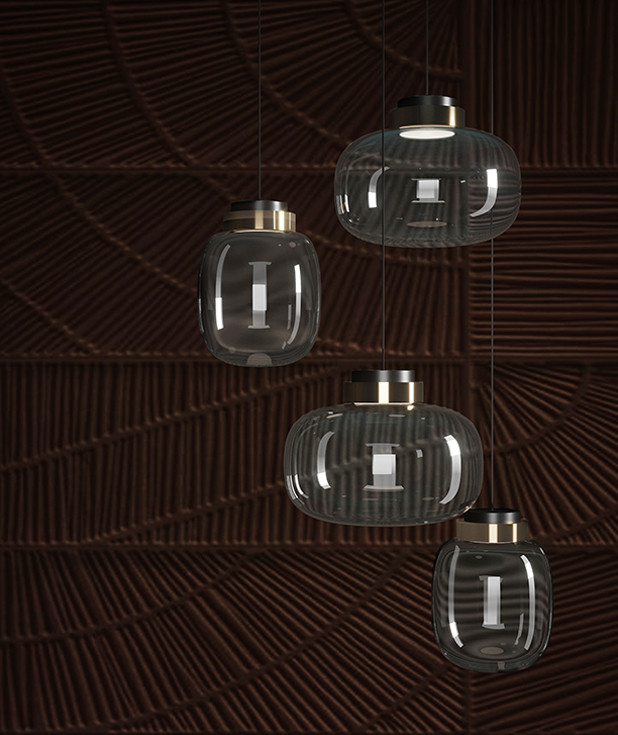 Transparent Murano glass diffuser pendant and table lamps with etched brass rim detail