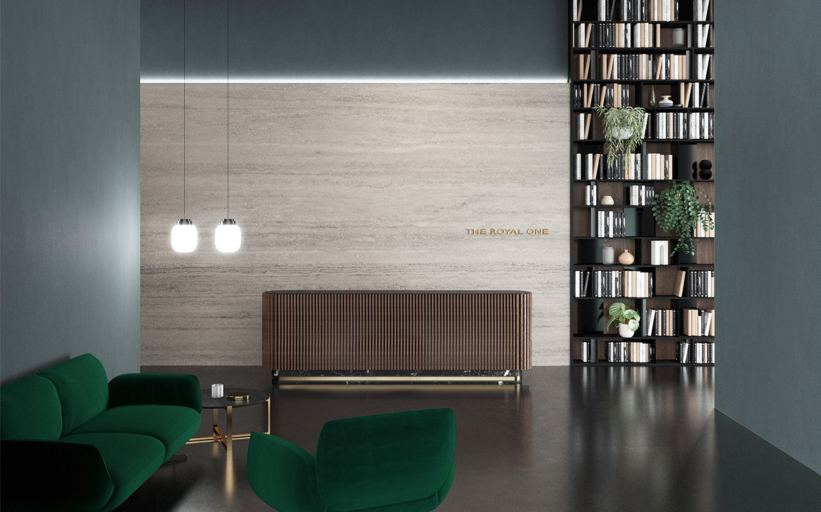 Frosted white Murano glass diffuser pendant lamps with polished platinum rim detail. walnut slat  counter with brass and black Marquiña marble base and black glass top. Green velvet upholstered sofa and armchair. Black Marquiña marble top with brushed brass structure coffee table