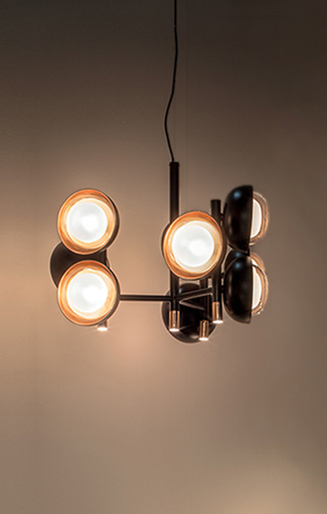Neo-vintage metal 9 lights chandelier with glass and copper screen diffusers