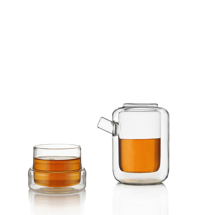 Thermic double wall borosilicate glass teacup and teapot