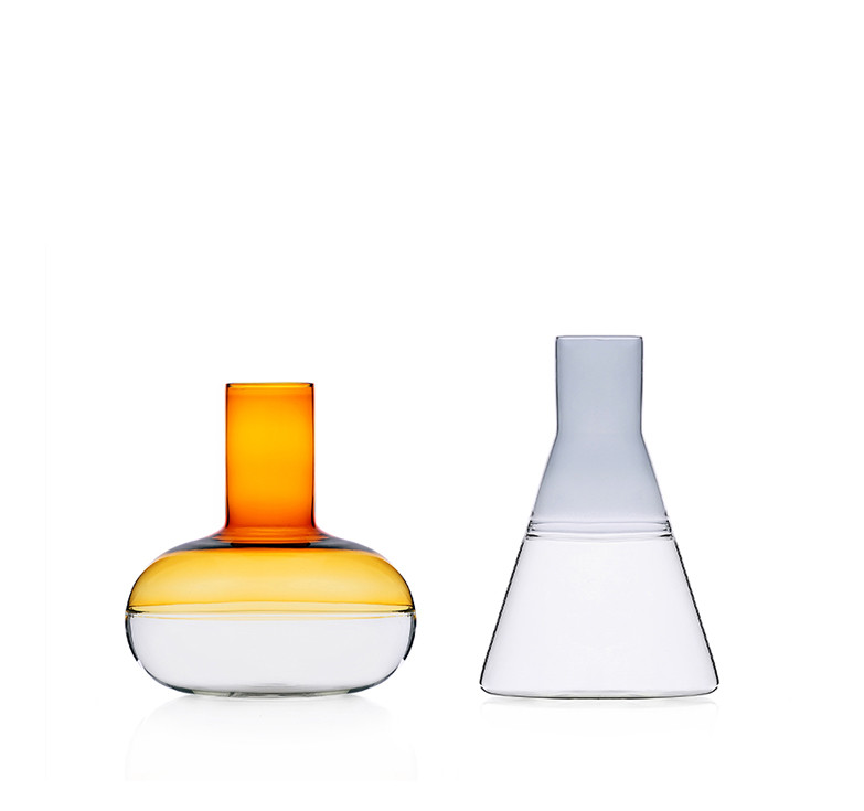 Colored glass wine decanter and water jug