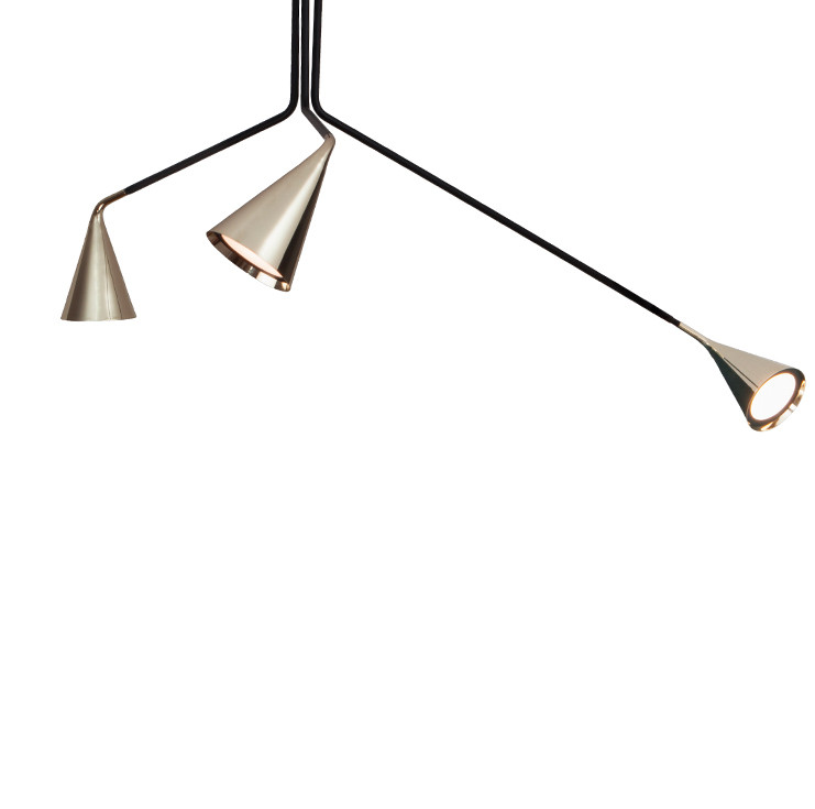 Adjustable black powder-coated steel ceiling lamp with polished brass reflectors