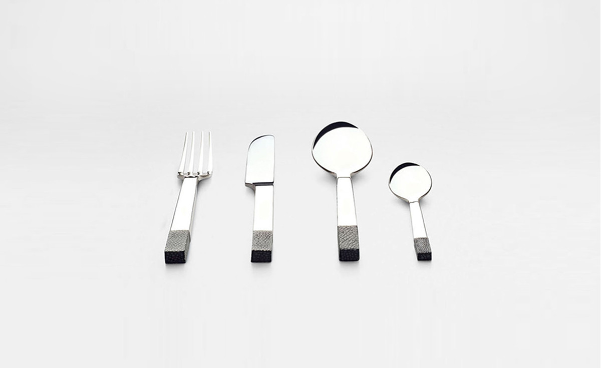 Silver plated cutlery with Shagreen details