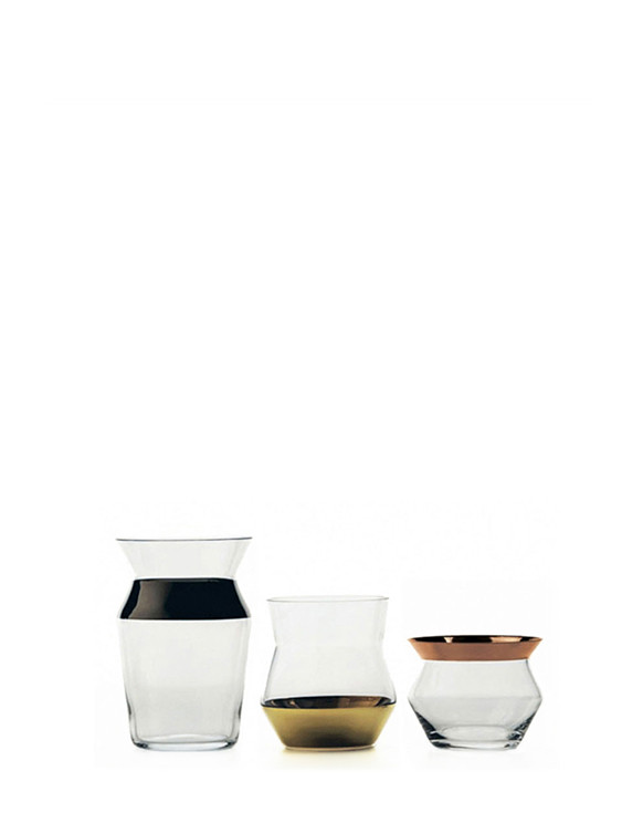 Sculptural glass tumblers with platinum, gold and copper decorations