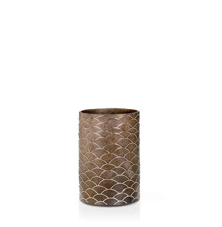Raku ware vase with sterling silver fish skin decoration