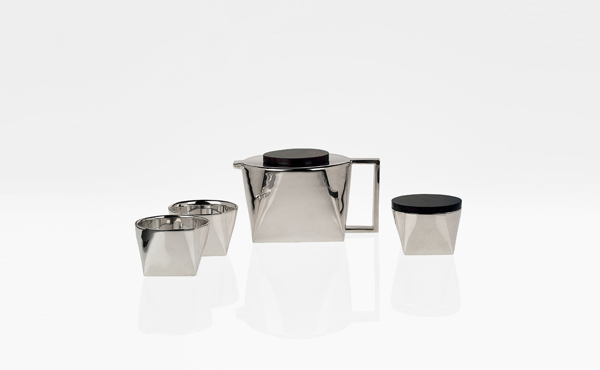 Silver plated brass tea set with ebony details