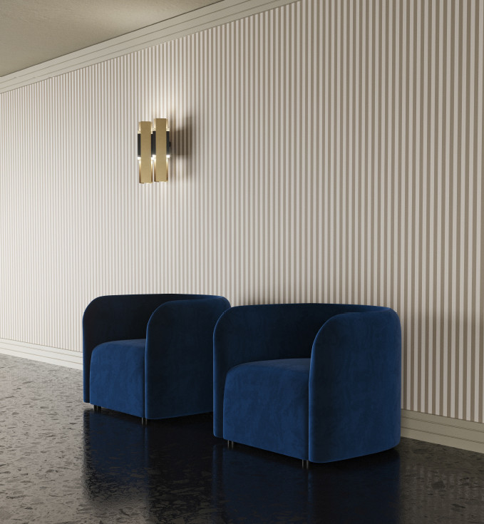 Velvet upholstered armchairs. Brushed brass, black powder-coated steel and transparent PMMA double wall lamp