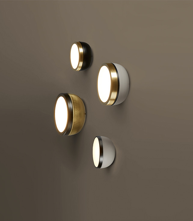 Dome shaped wall lamps in different metal finishings and powder coated colors with diamond texture glass diffusers