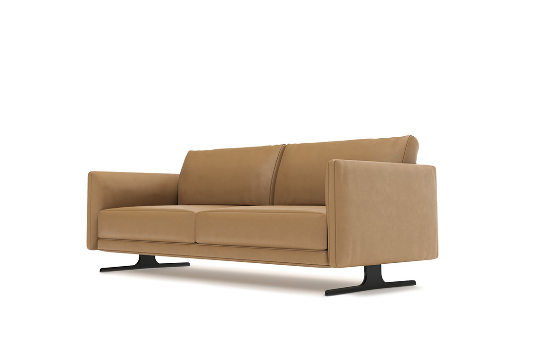 Aniline leather two seater sofa with black nickel steel feet