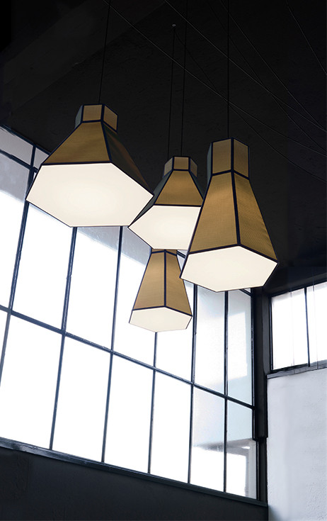 Hexagonal tubes chandelier made in black net and white canvas shades