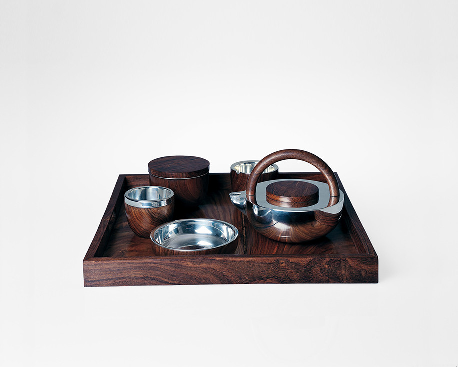 Matt gray coated porcelain tea set