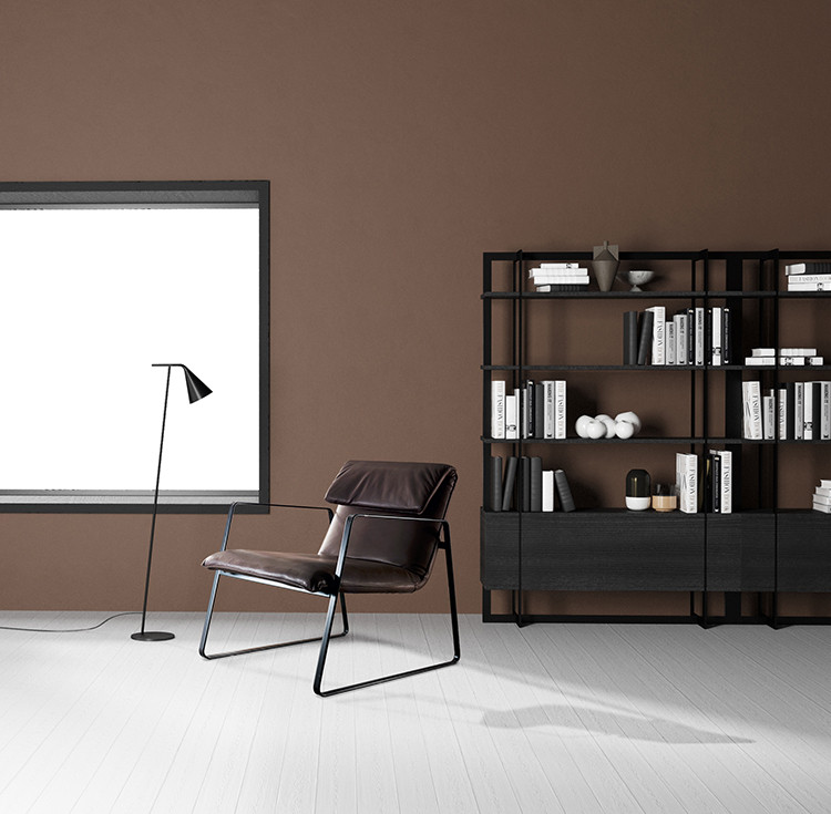 Aniline leather upholstered lounge chair with dark bronze metal frame structure. Black powder coated steel floor lamp with black nickel finishing adjustable reflector. Dark bronze steel structure bookcase with dark brown oak shelves and drawers