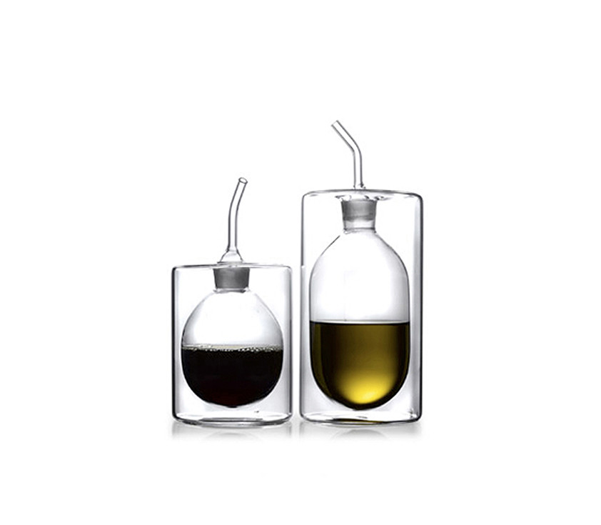 Double wall borosilicate glass cylinder shaped oil and vinegar cruets