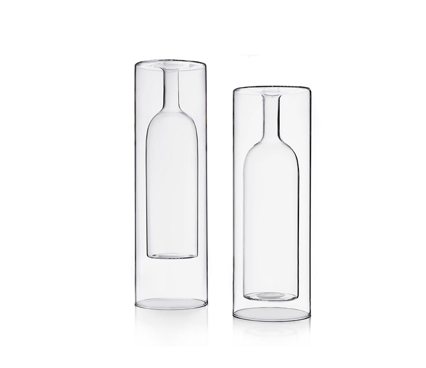 Double wall borosilicate glass vases