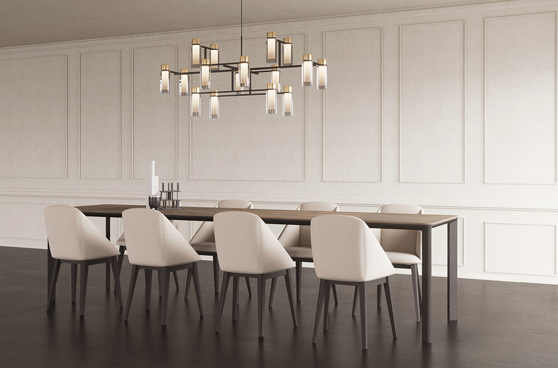 Solid oak dining table with beige stoneware top. Light gray felt dining chairs with solid oak base. Smoked double wall glass chandelier with black chromed details and steel structure