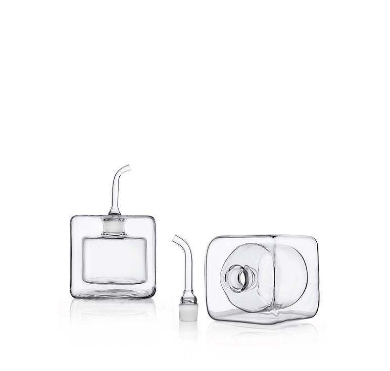 Double wall borosilicate glass cube shaped oil and vinegar cruets