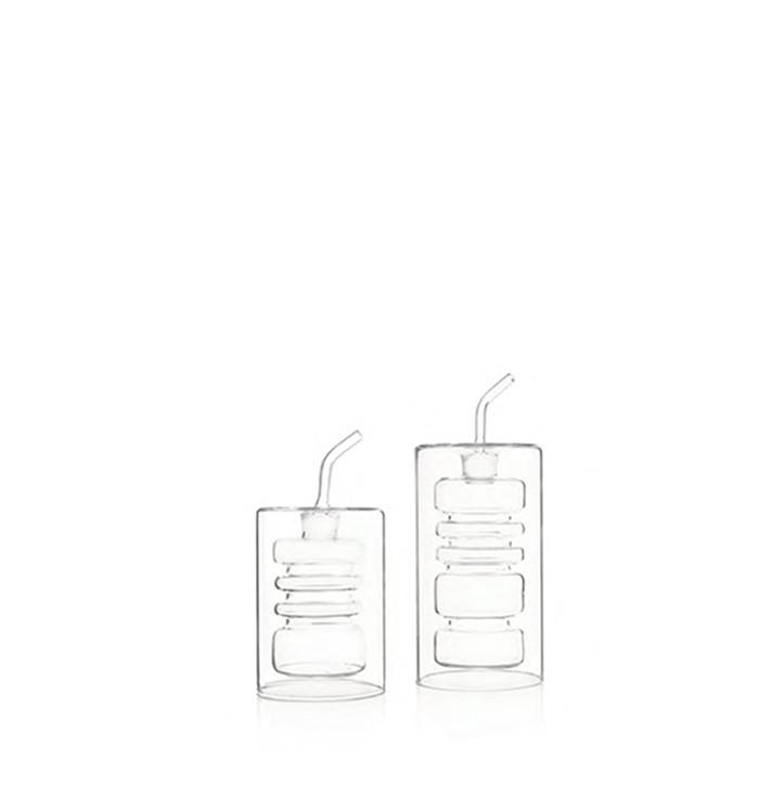 Double wall borosilicate glass oil and vinegar cruets