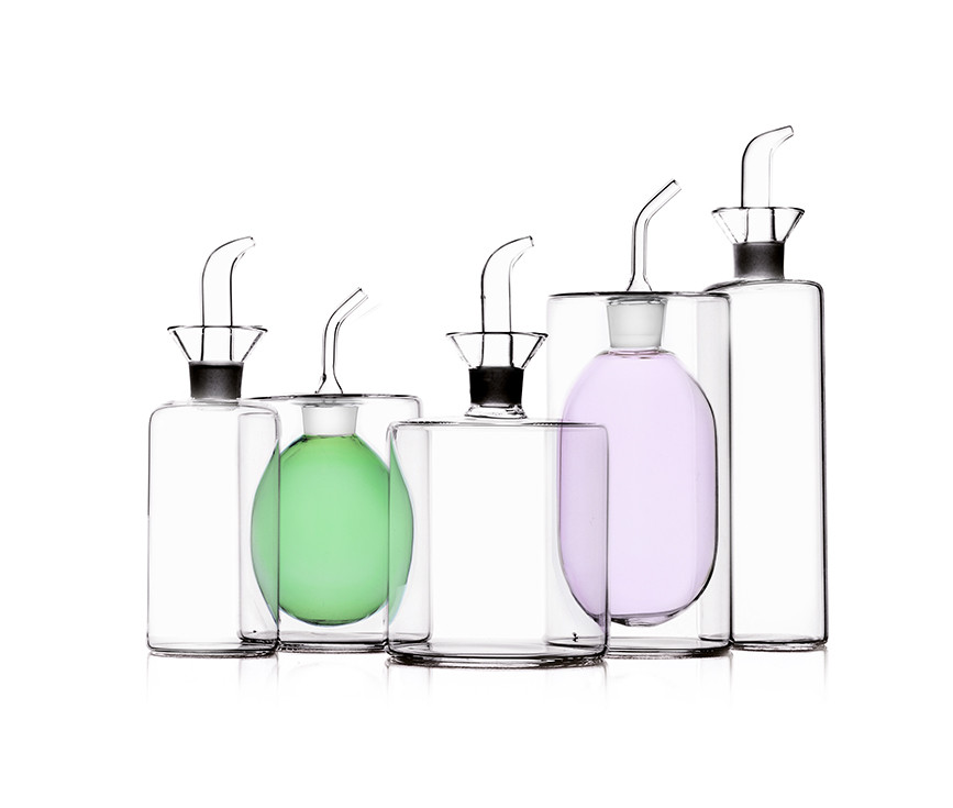 Double wall colored borosilicate glass cylinder shaped oil and vinegar cruets