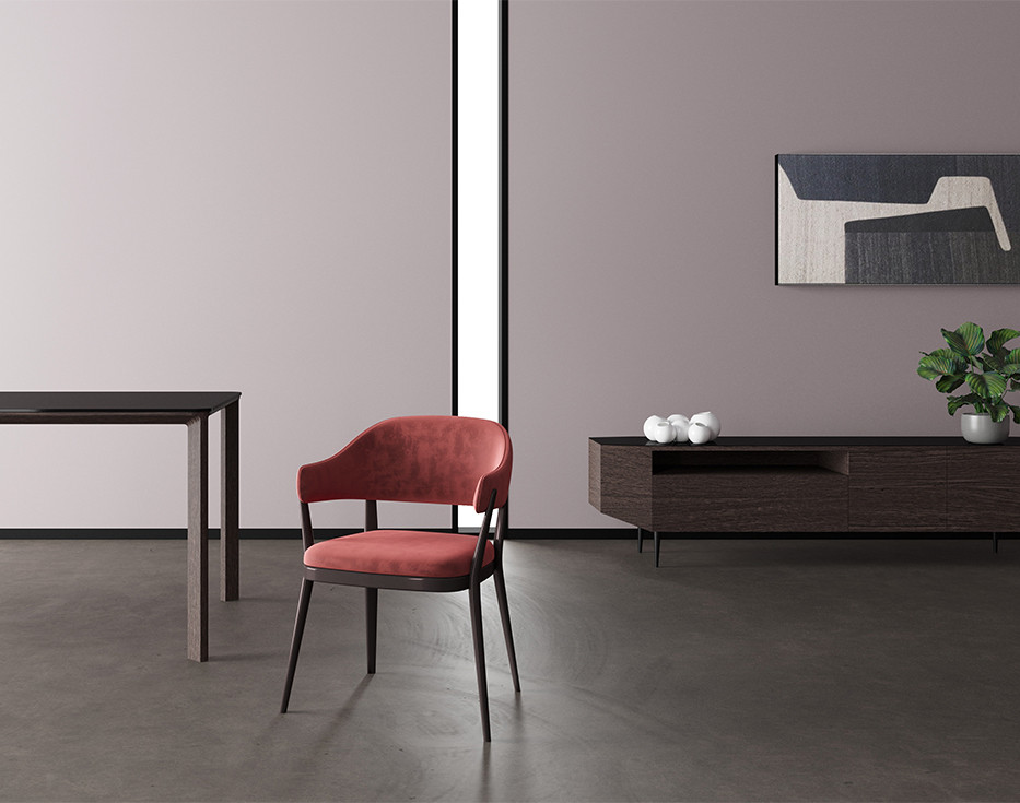 Velvet upholstered dining armchair with lacquered solid wood structure. Brown oak veneer sideboard with gray stoneware top