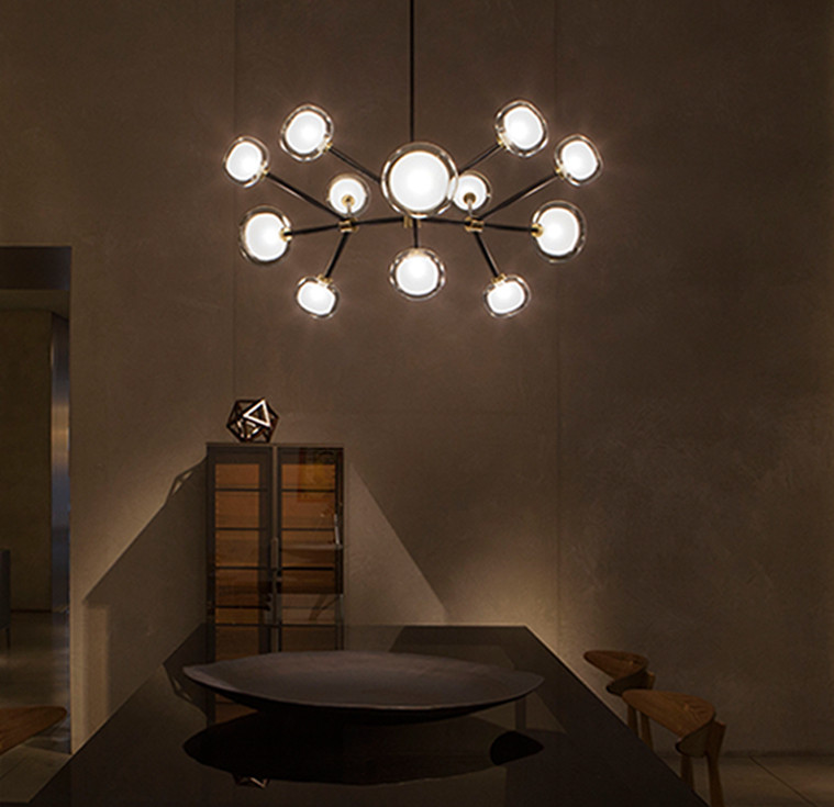 Sphere shaped double wall glass diffusers chandelier with black powder coated steel structure and brass details