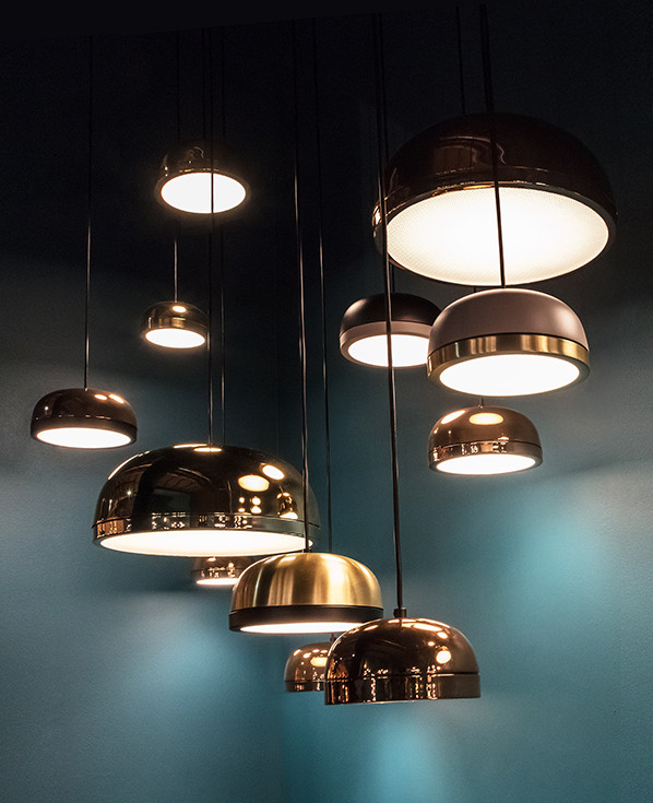 Dome shaped pendant lamps in different metal finishings and powder coated colors with diamond texture glass diffusers