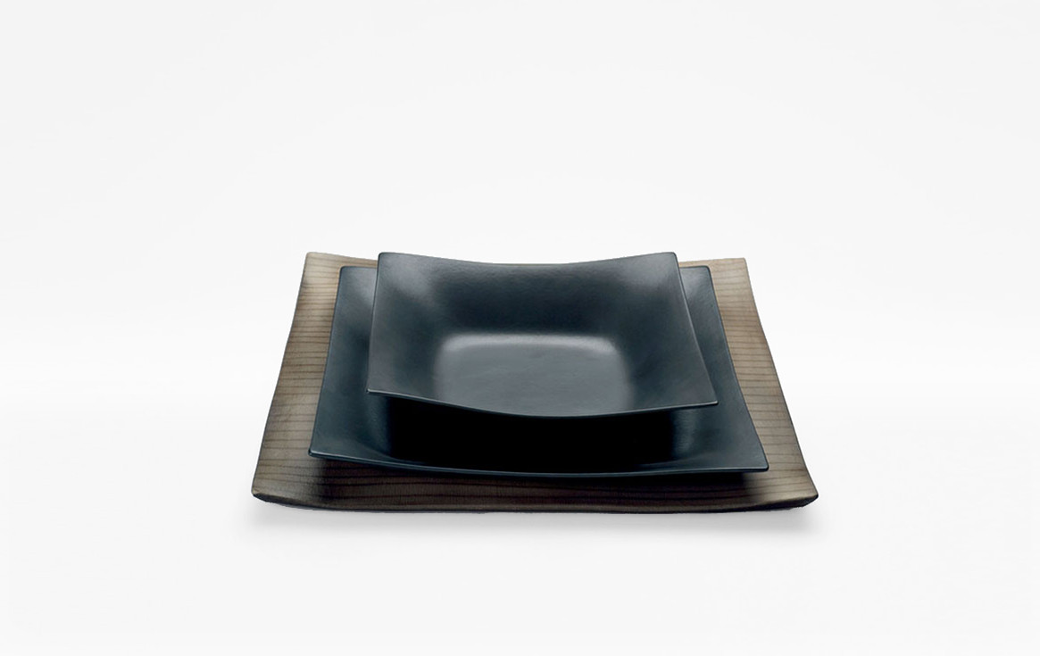 Black Matt coated porcelain dishes. Raku ware porcelain underplate