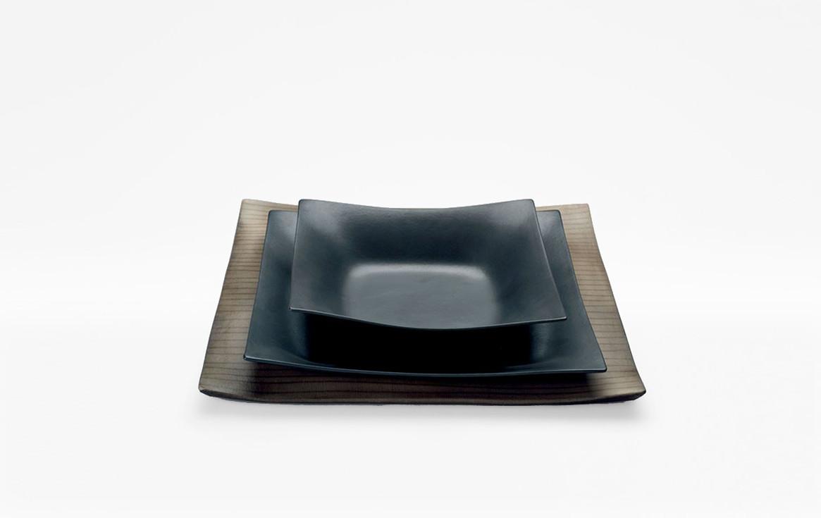 Black Matt coated porcelain dishes. Raku ware porcelain underplate