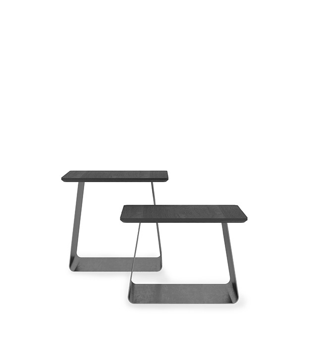 Lacquered top and natural steel side tables