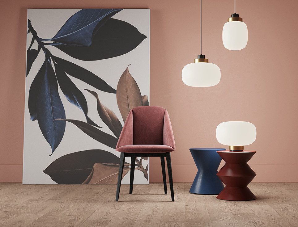 Frosted white Murano glass diffuser pendant and table lamps with brushed brass rim detail. Velvet upholstered dining armchair with black oak solid wood structure