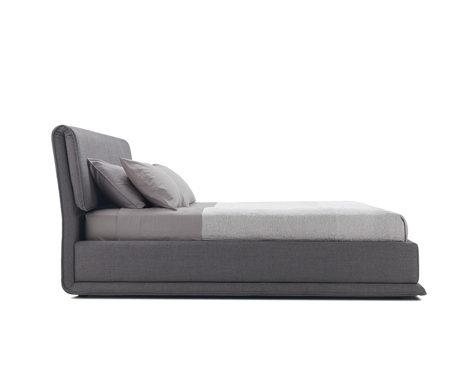 Bending headrest bed with fabric upholstery and container bed frame