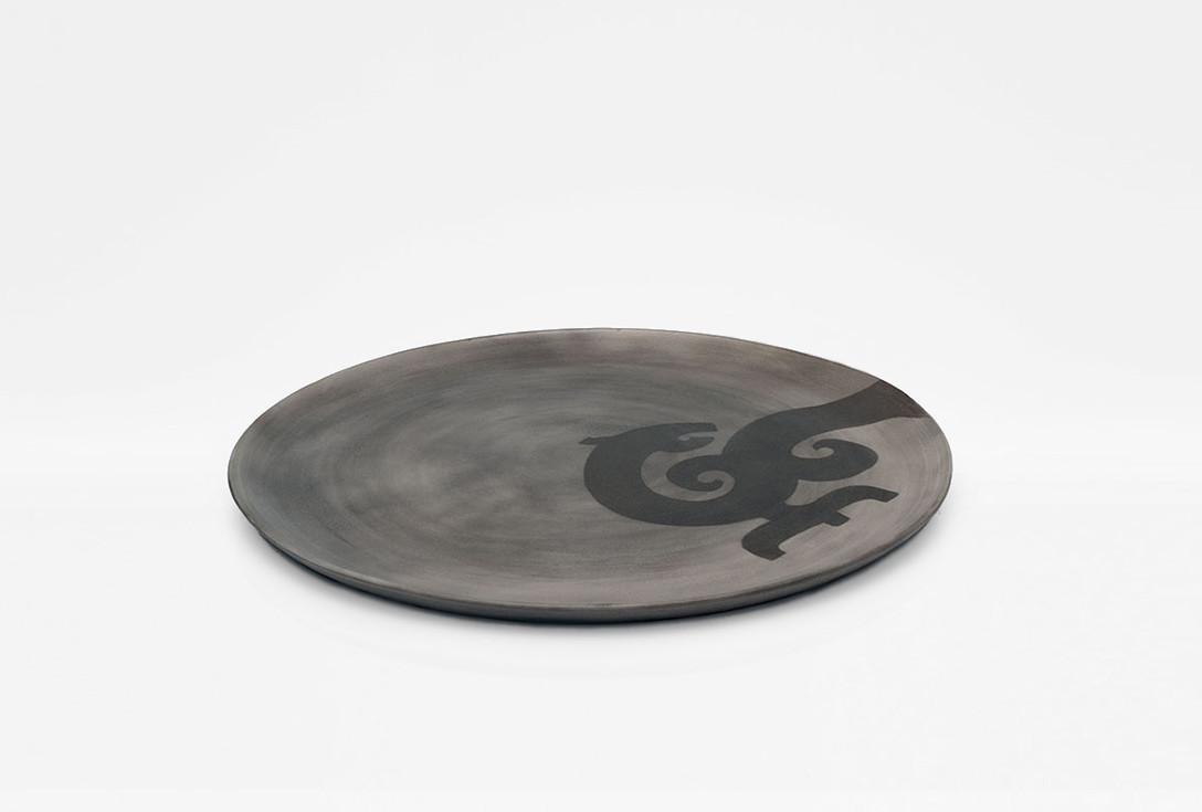 Raku ware centerpiece with Ancient Mongolian dragon decoration